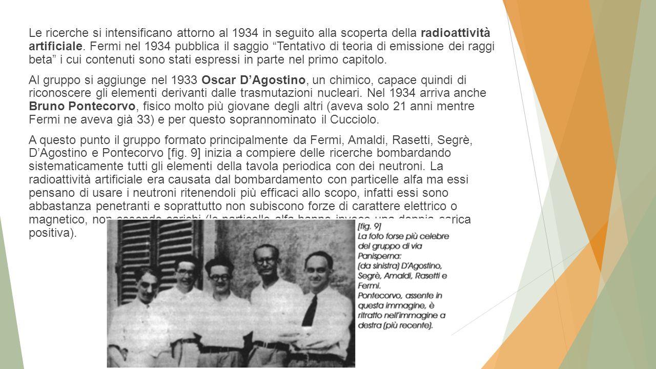 Le ricerche si intensificano attorno al 1934 in seguito alla scoperta della radioattività artificiale.