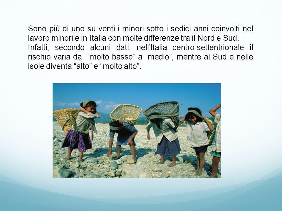 Sono più di uno su venti i minori sotto i sedici anni coinvolti nel lavoro minorile in Italia con molte differenze tra il Nord e Sud.