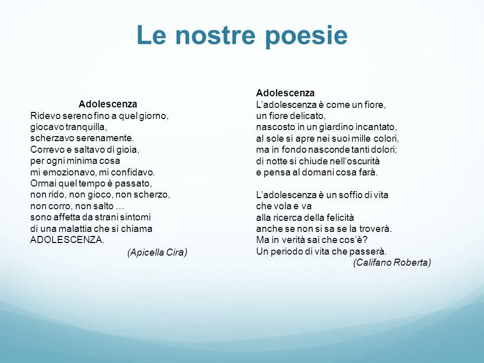 Le nostre poesie Adolescenza L'adolescenza è come un fiore,
