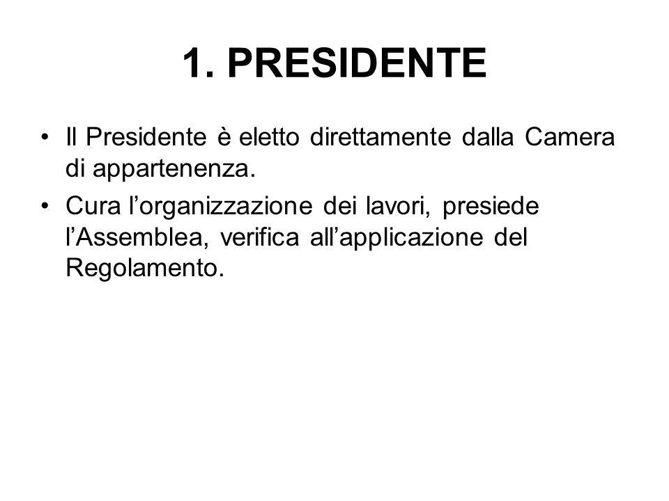 1. PRESIDENTE Il Presidente è eletto direttamente dalla Camera di appartenenza.