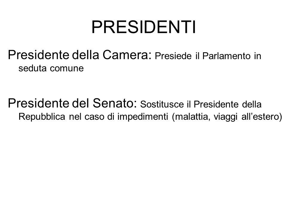 PRESIDENTI Presidente della Camera: Presiede il Parlamento in seduta comune.