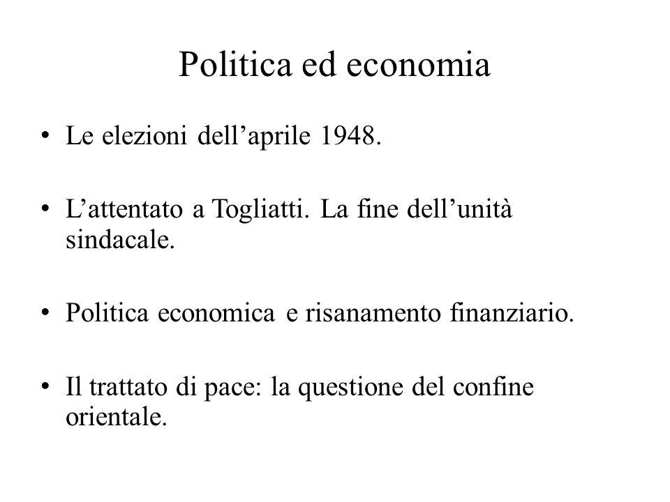Politica ed economia Le elezioni dell'aprile 1948.