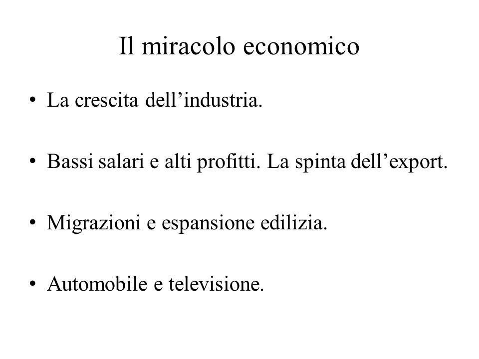 Il miracolo economico La crescita dell'industria.