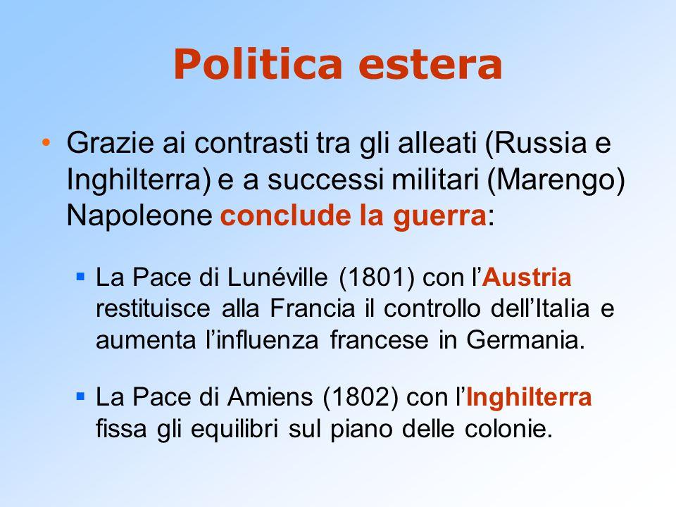 Politica estera Grazie ai contrasti tra gli alleati (Russia e Inghilterra) e a successi militari (Marengo) Napoleone conclude la guerra: