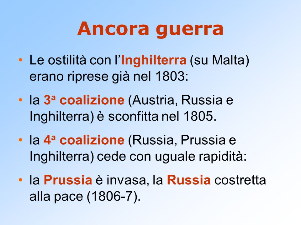 Ancora guerra Le ostilità con l'Inghilterra (su Malta) erano riprese già nel 1803: