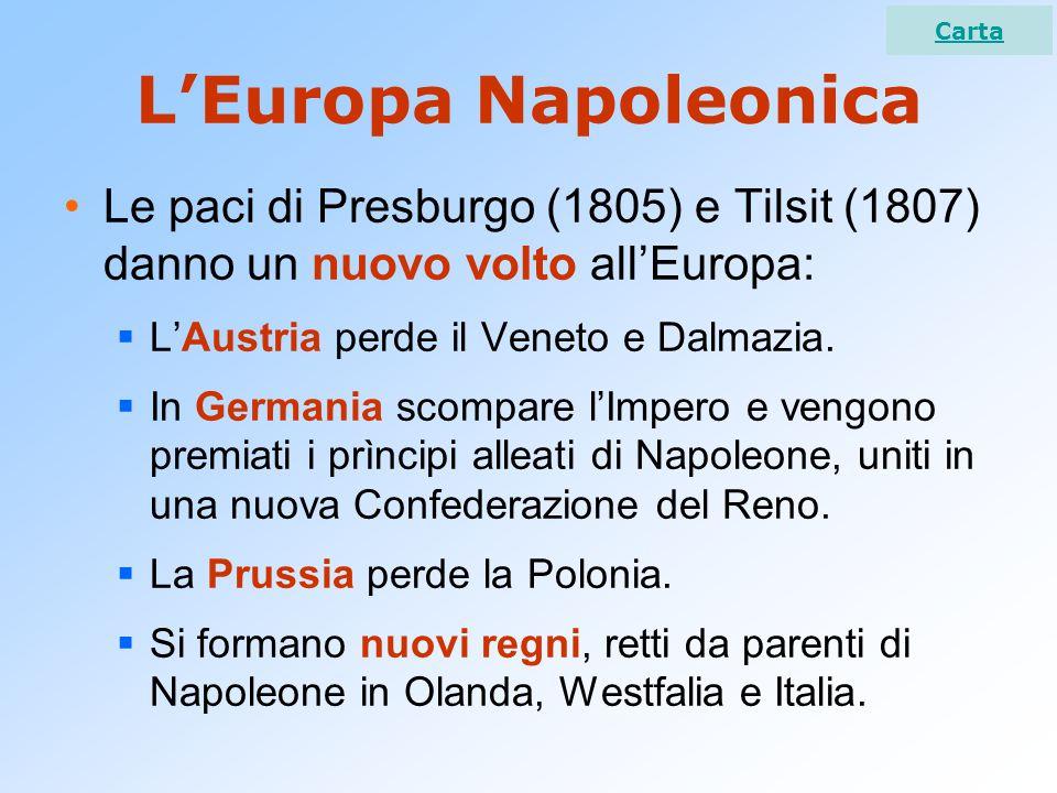 Carta L'Europa Napoleonica. Le paci di Presburgo (1805) e Tilsit (1807) danno un nuovo volto all'Europa: