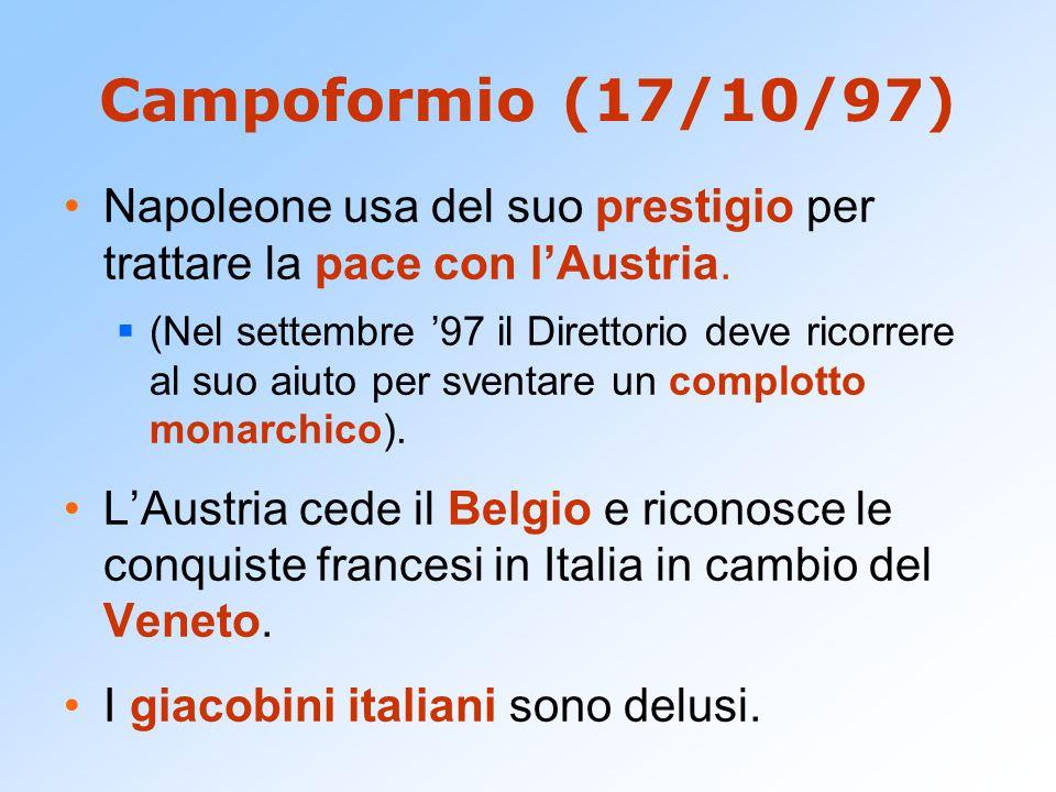Campoformio (17/10/97) Napoleone usa del suo prestigio per trattare la pace con l'Austria.
