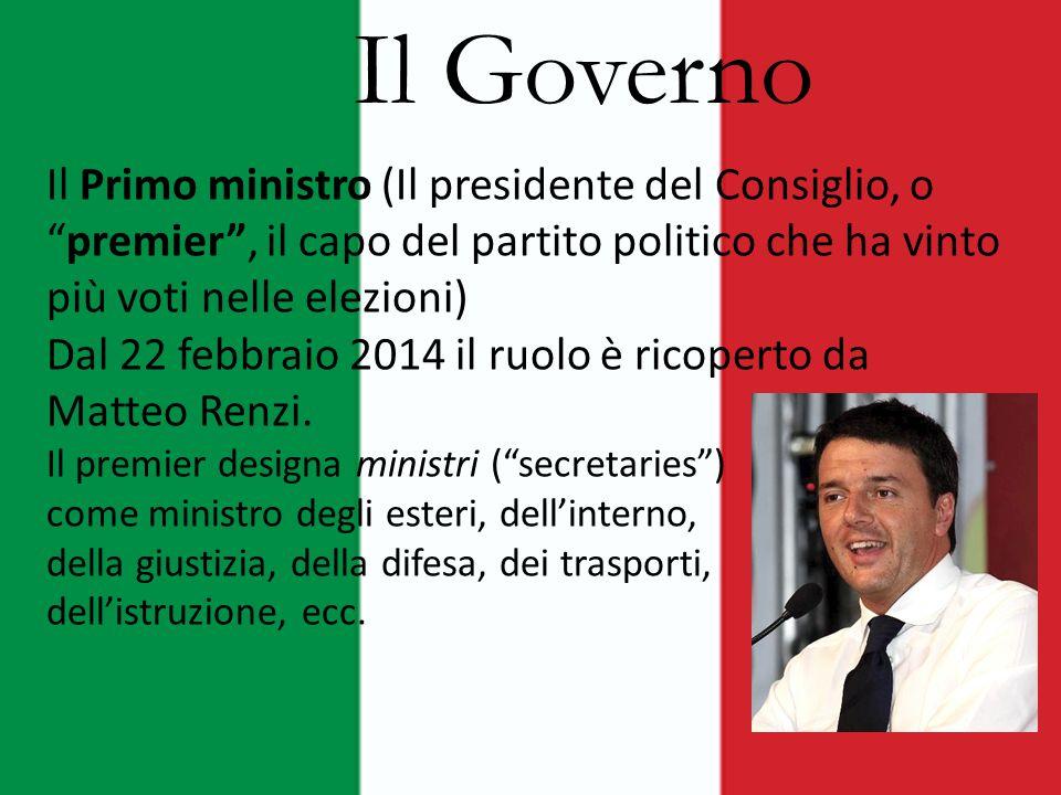 Il Governo Il Primo ministro (Il presidente del Consiglio, o premier , il capo del partito politico che ha vinto più voti nelle elezioni)