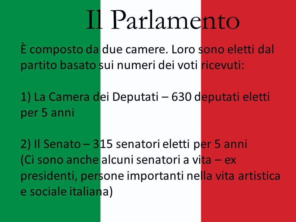 Il Parlamento È composto da due camere. Loro sono eletti dal partito basato sui numeri dei voti ricevuti: