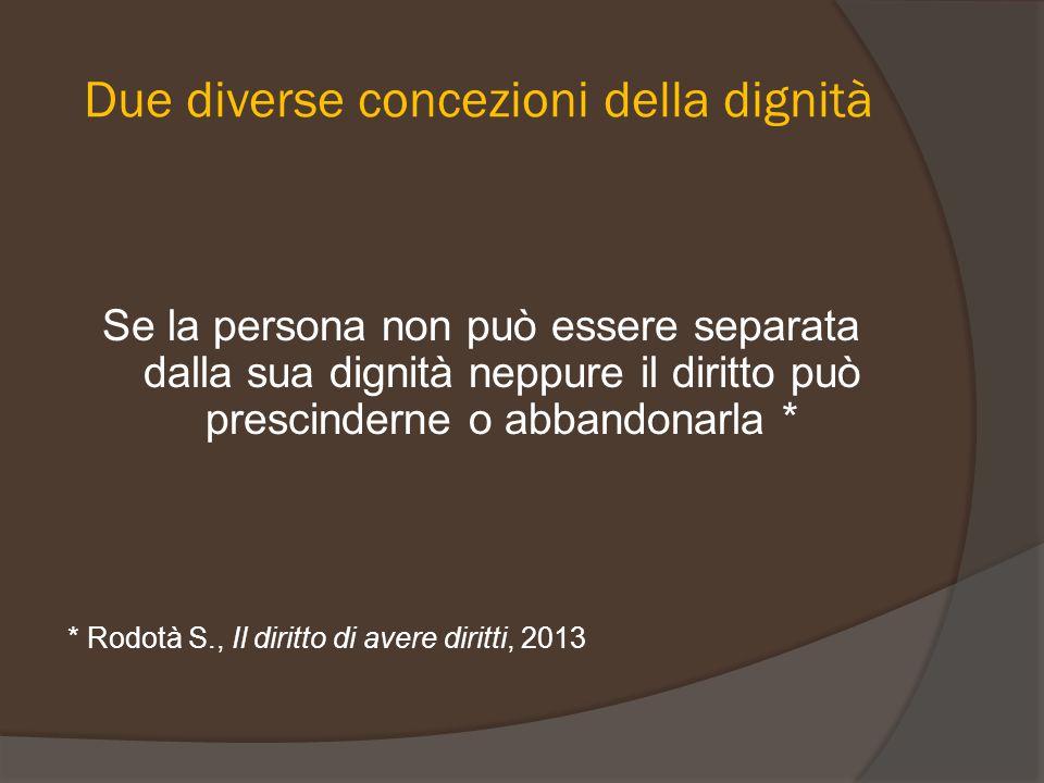 Due diverse concezioni della dignità