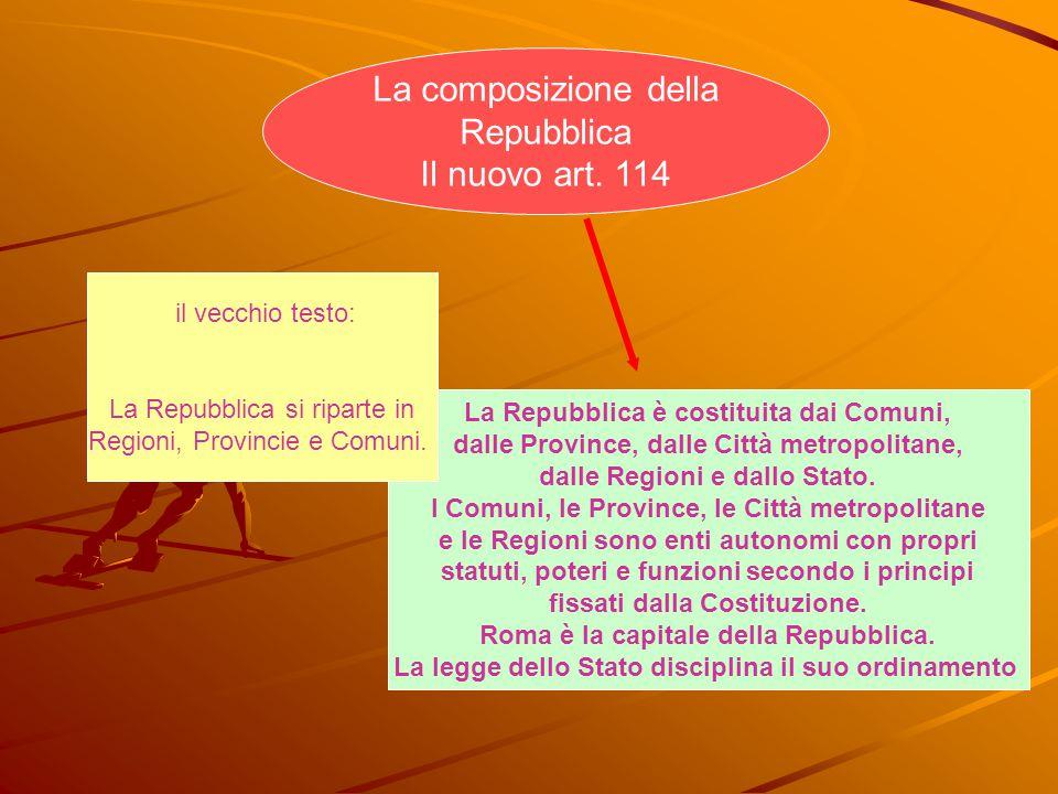 La composizione della Repubblica Il nuovo art. 114 il vecchio testo: