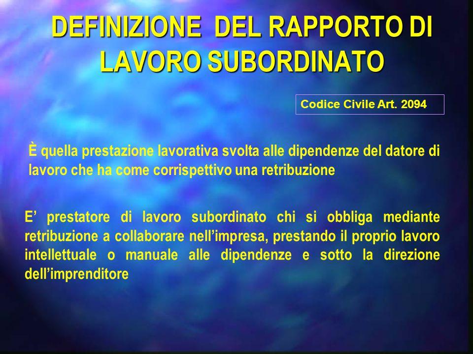 DEFINIZIONE DEL RAPPORTO DI LAVORO SUBORDINATO