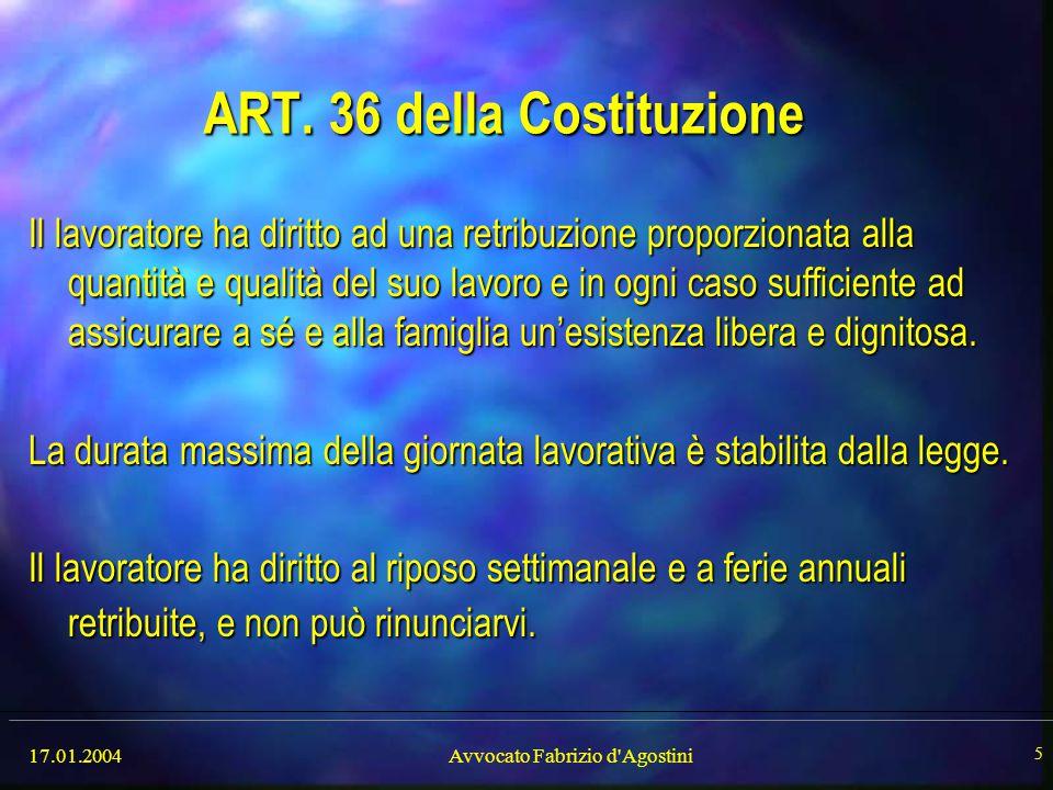 ART. 36 della Costituzione