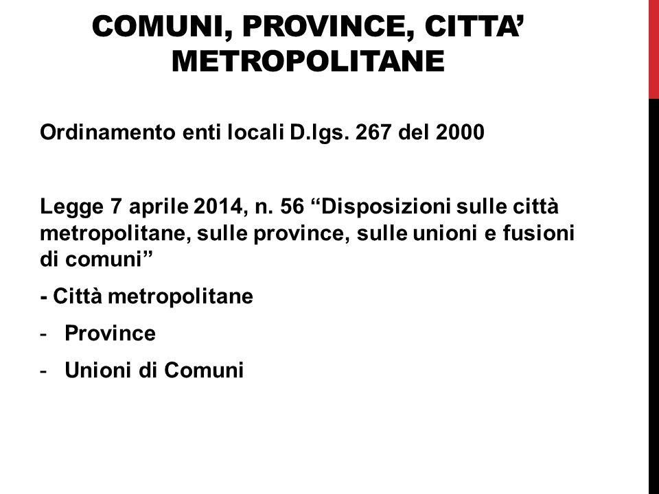 Comuni, province, citta' metropolitane