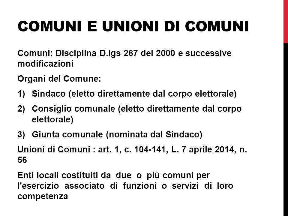 Comuni e unioni di comuni