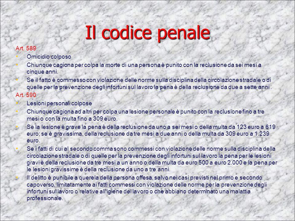 Il codice penale Art. 589 Omicidio colposo