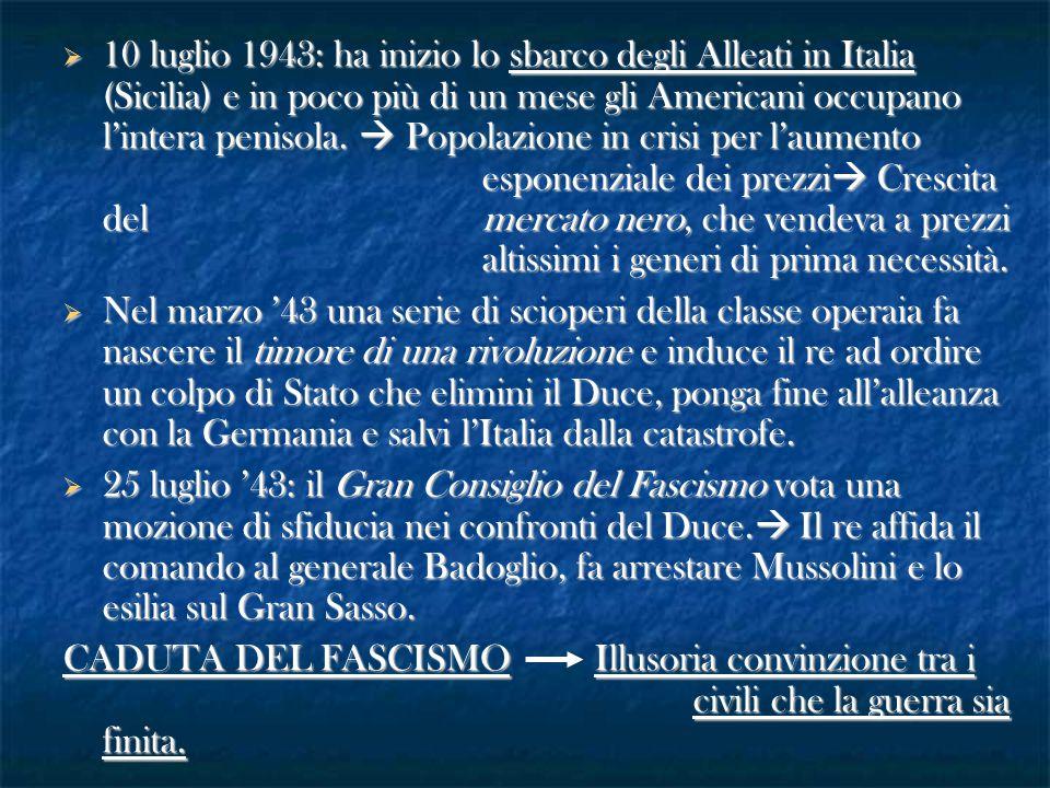10 luglio 1943: ha inizio lo sbarco degli Alleati in Italia (Sicilia) e in poco più di un mese gli Americani occupano l'intera penisola.  Popolazione in crisi per l'aumento esponenziale dei prezzi Crescita del mercato nero, che vendeva a prezzi altissimi i generi di prima necessità.