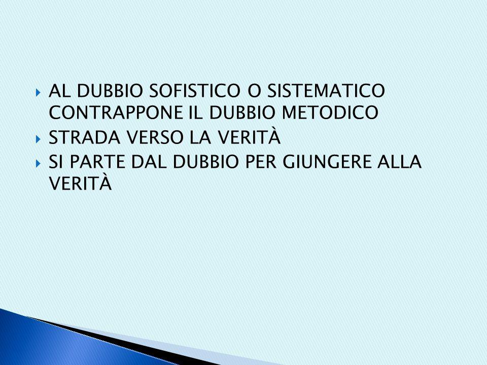 AL DUBBIO SOFISTICO O SISTEMATICO CONTRAPPONE IL DUBBIO METODICO
