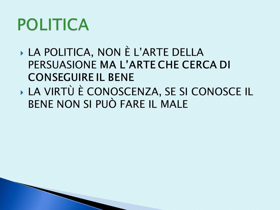 POLITICA LA POLITICA, NON È L'ARTE DELLA PERSUASIONE MA L'ARTE CHE CERCA DI CONSEGUIRE IL BENE.