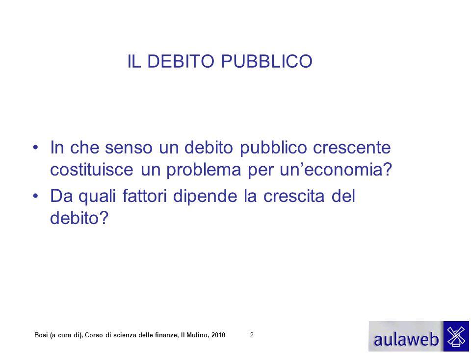 IL DEBITO PUBBLICO In che senso un debito pubblico crescente costituisce un problema per un'economia