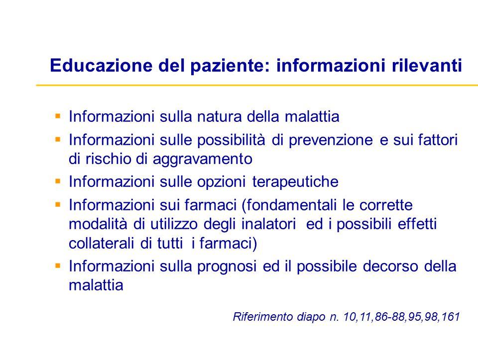 Educazione del paziente: informazioni rilevanti