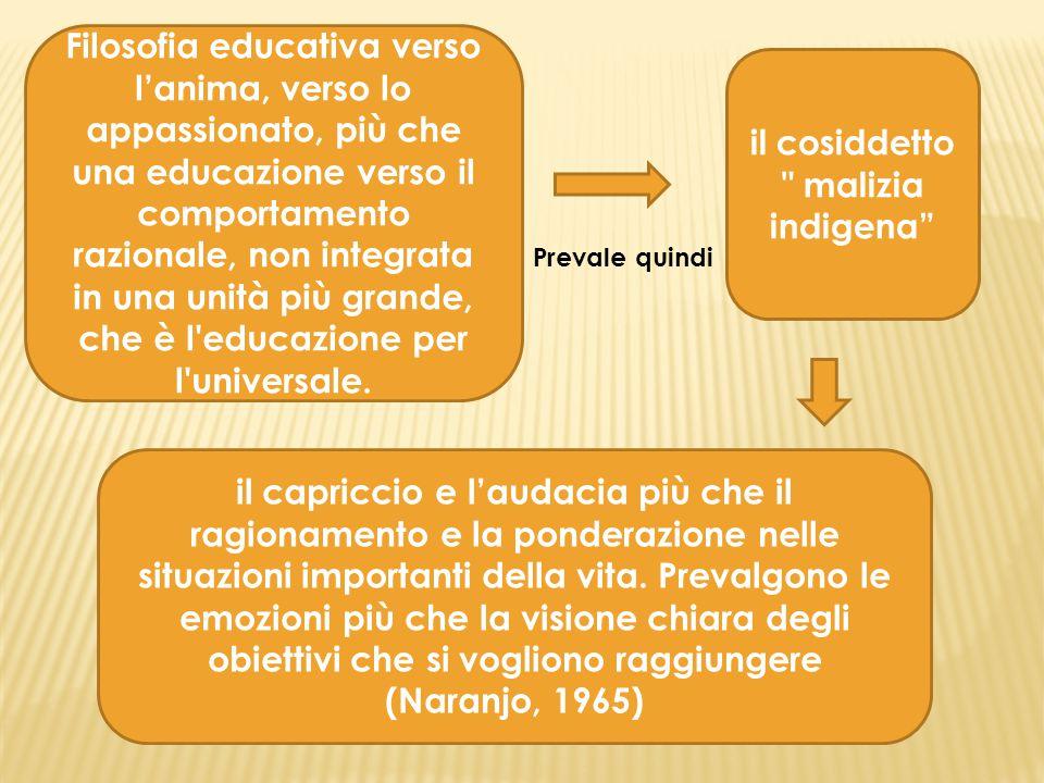 Filosofia educativa verso l'anima, verso lo appassionato, più che una educazione verso il comportamento razionale, non integrata in una unità più grande, che è l educazione per l universale.