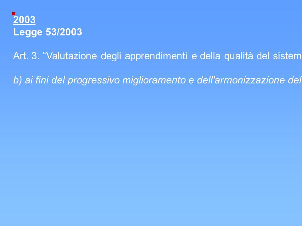 2003 Legge 53/2003. Art. 3. Valutazione degli apprendimenti e della qualità del sistema educativo di istruzione e di formazione .