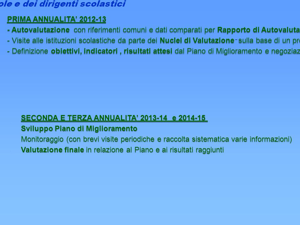 2012/2015 Vales: Valutazione e sviluppo La valutazione delle scuole e dei dirigenti scolastici