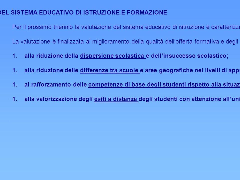 PRIORITA' STRATEGICHE DELLA VALUTAZIONE DEL SISTEMA EDUCATIVO DI ISTRUZIONE E FORMAZIONE