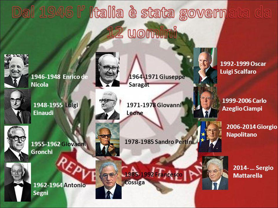 Dal 1946 l' Italia è stata governata da 12 uomini