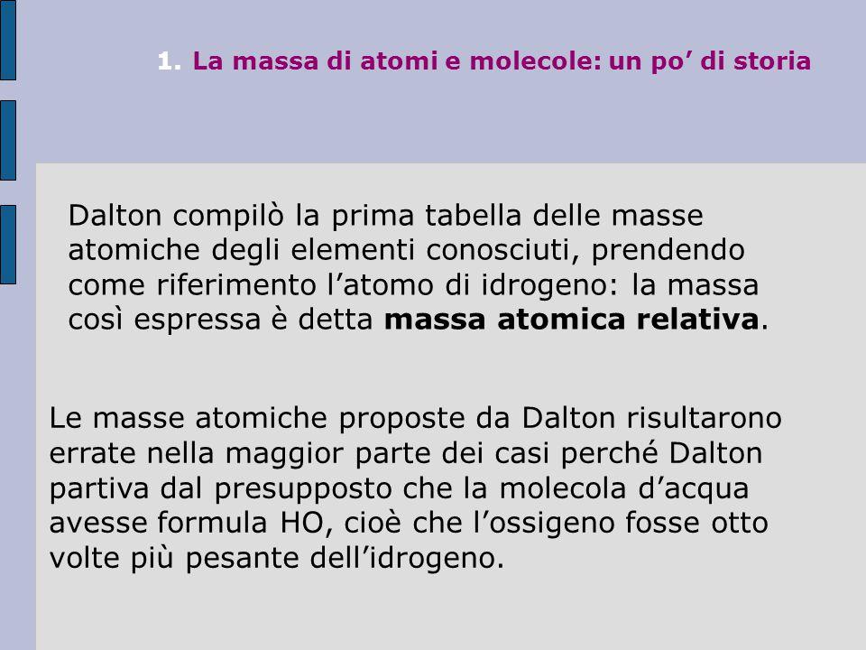 1. La massa di atomi e molecole: un po' di storia