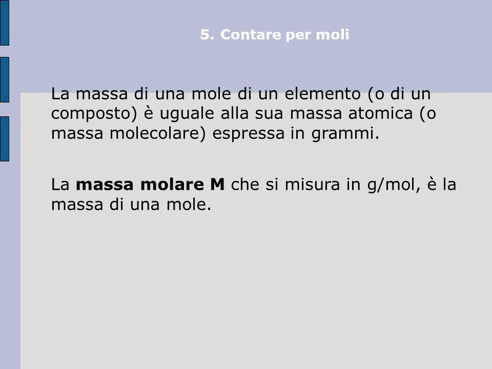 La massa molare M che si misura in g/mol, è la massa di una mole.
