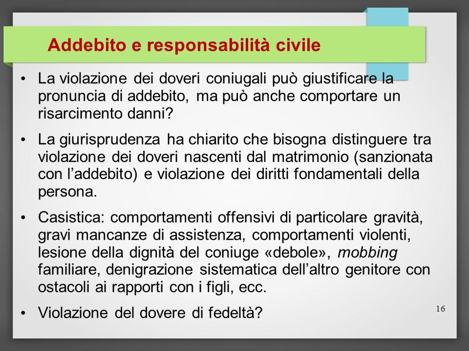 Addebito e responsabilità civile