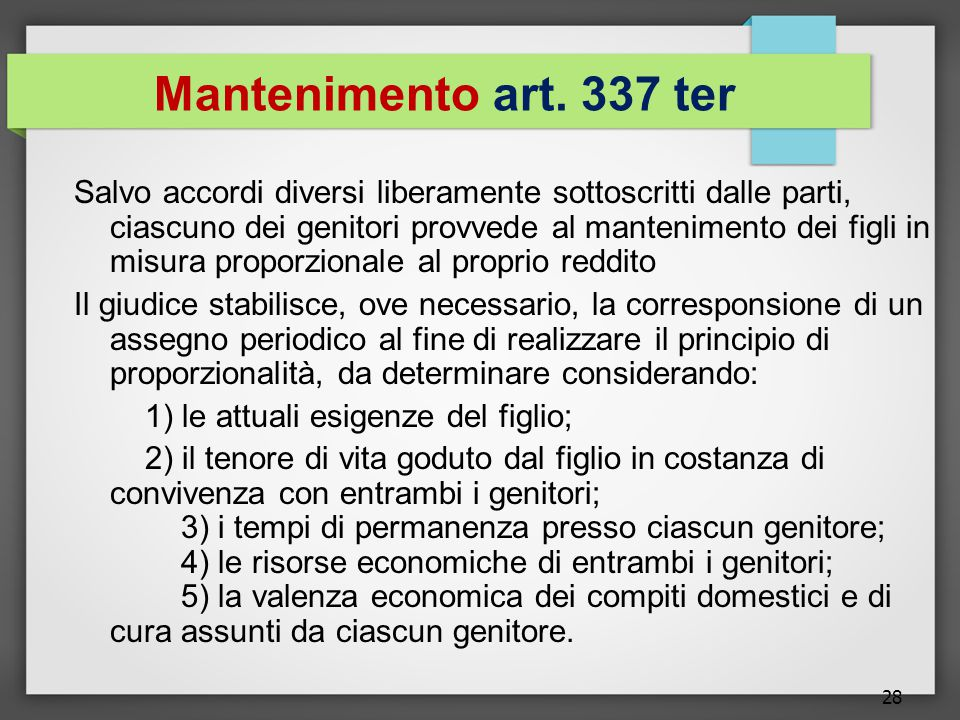 Mantenimento art. 337 ter