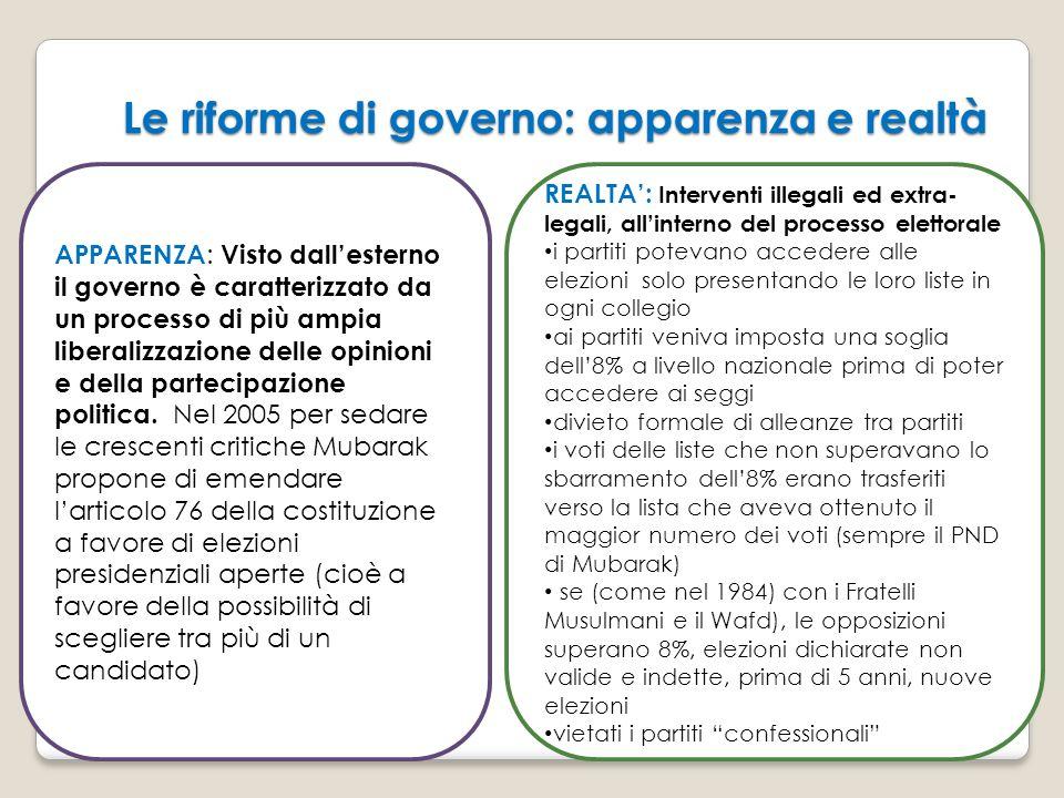 Le riforme di governo: apparenza e realtà