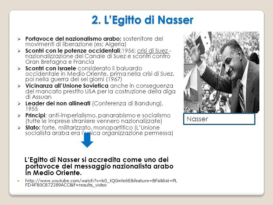 2. L'Egitto di Nasser Portavoce del nazionalismo arabo: sostenitore dei movimenti di liberazione (es: Algeria)