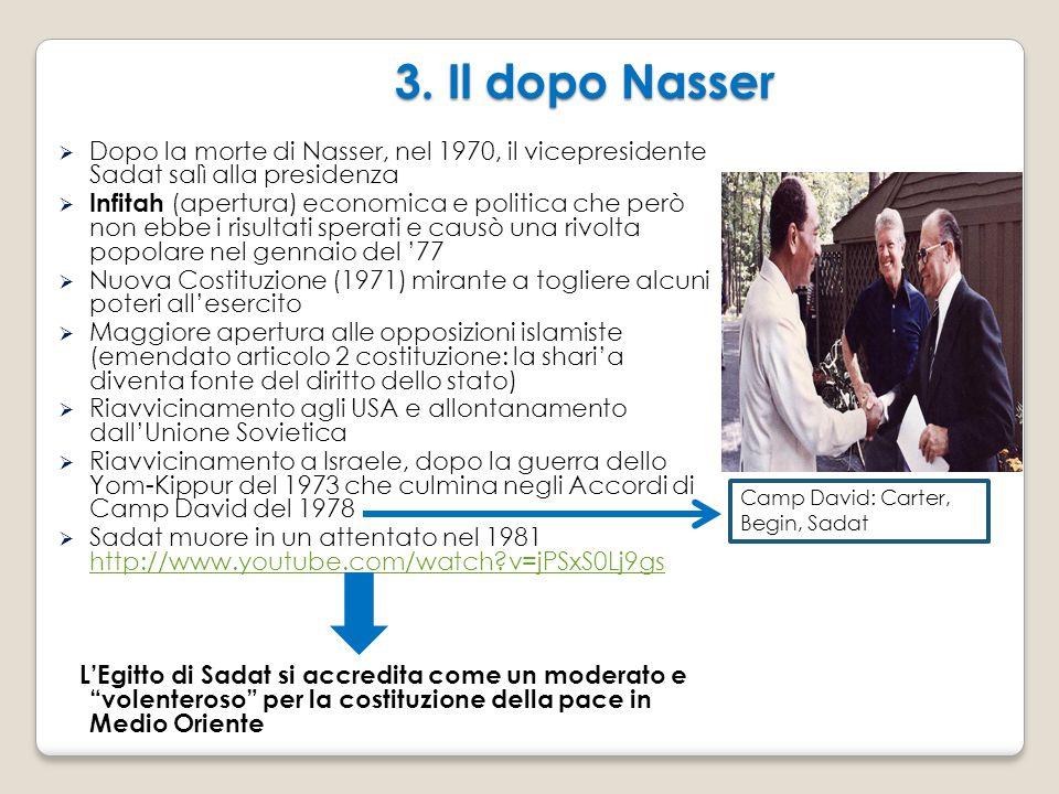 3. Il dopo Nasser Dopo la morte di Nasser, nel 1970, il vicepresidente Sadat salì alla presidenza.
