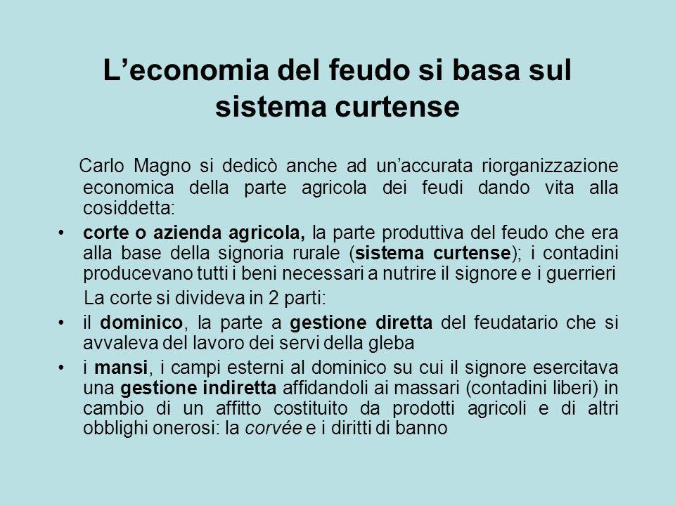 L'economia del feudo si basa sul sistema curtense