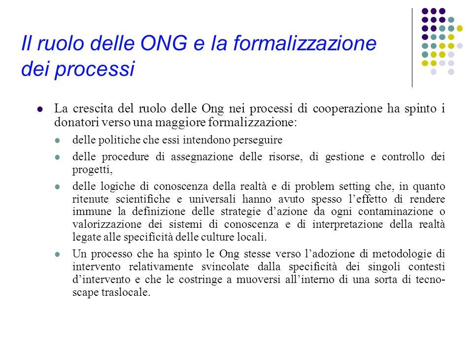 Il ruolo delle ONG e la formalizzazione dei processi