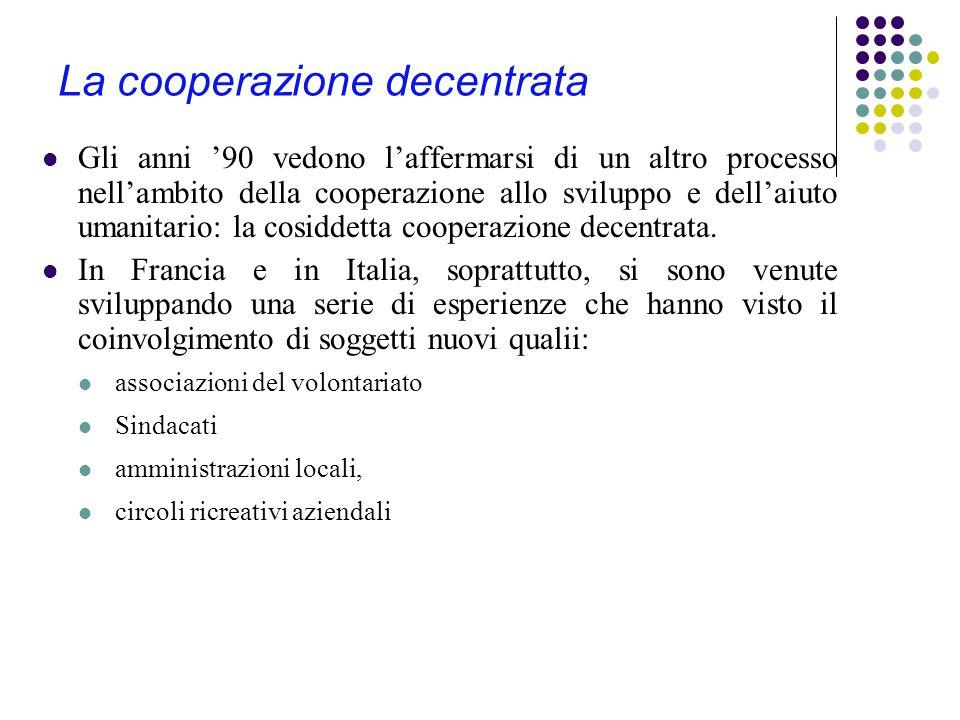 La cooperazione decentrata