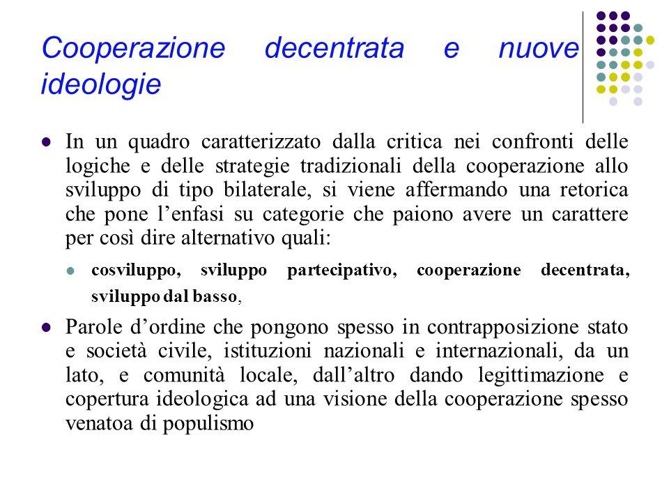 Cooperazione decentrata e nuove ideologie