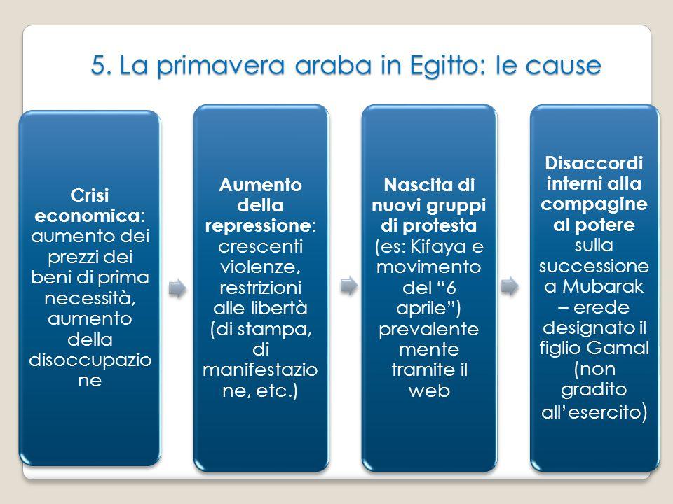 5. La primavera araba in Egitto: le cause