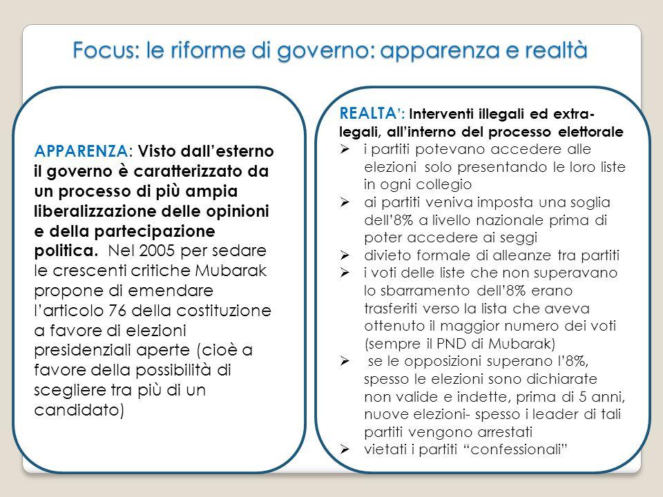 Focus: le riforme di governo: apparenza e realtà