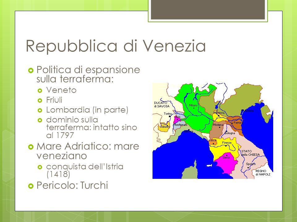 Repubblica di Venezia Politica di espansione sulla terraferma: