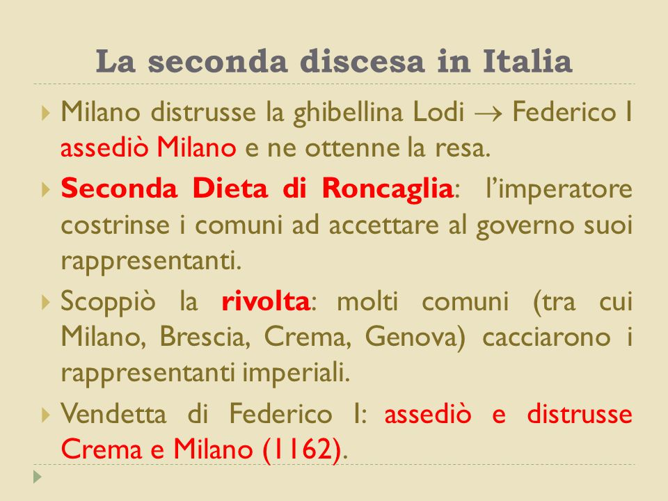 La seconda discesa in Italia