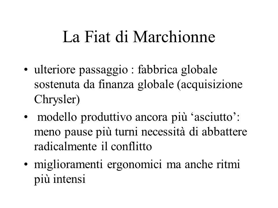 La Fiat di Marchionne ulteriore passaggio : fabbrica globale sostenuta da finanza globale (acquisizione Chrysler)