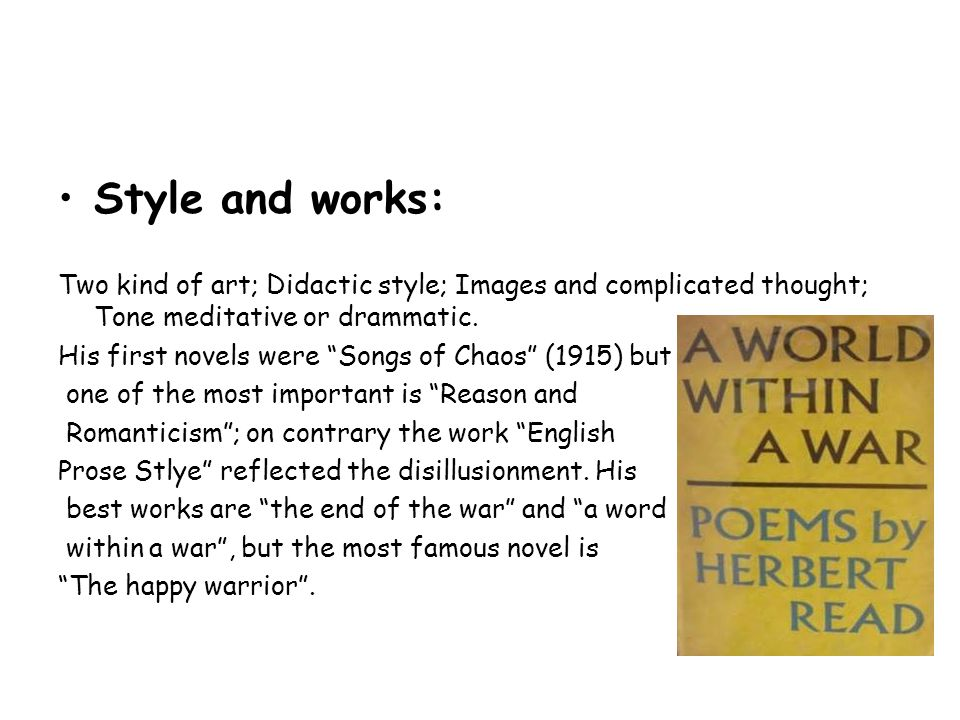 Style and works: Two kind of art; Didactic style; Images and complicated thought; Tone meditative or drammatic.