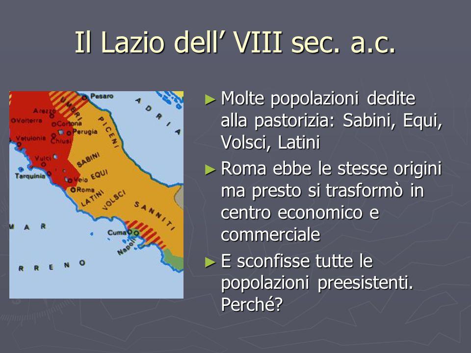 Il Lazio dell' VIII sec. a.c.