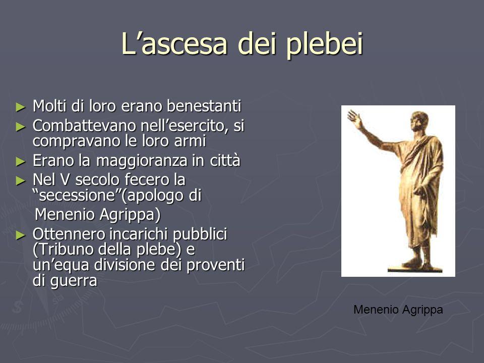 L'ascesa dei plebei Molti di loro erano benestanti