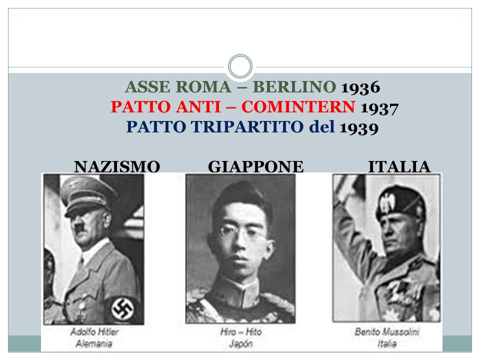 ASSE ROMA – BERLINO 1936 PATTO ANTI – COMINTERN 1937 PATTO TRIPARTITO del 1939 NAZISMO GIAPPONE ITALIA